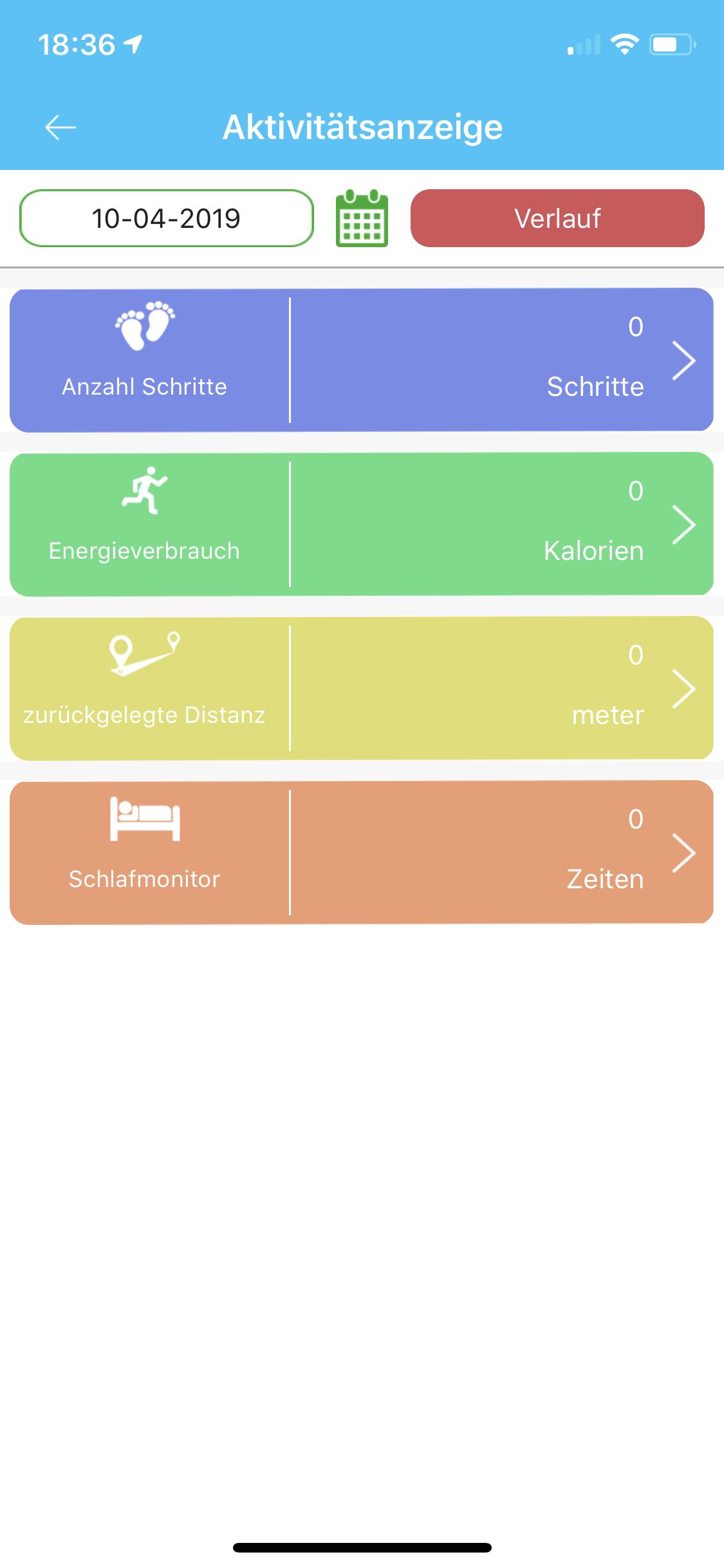 SE-Tracker-App Aktivitätsanzeige