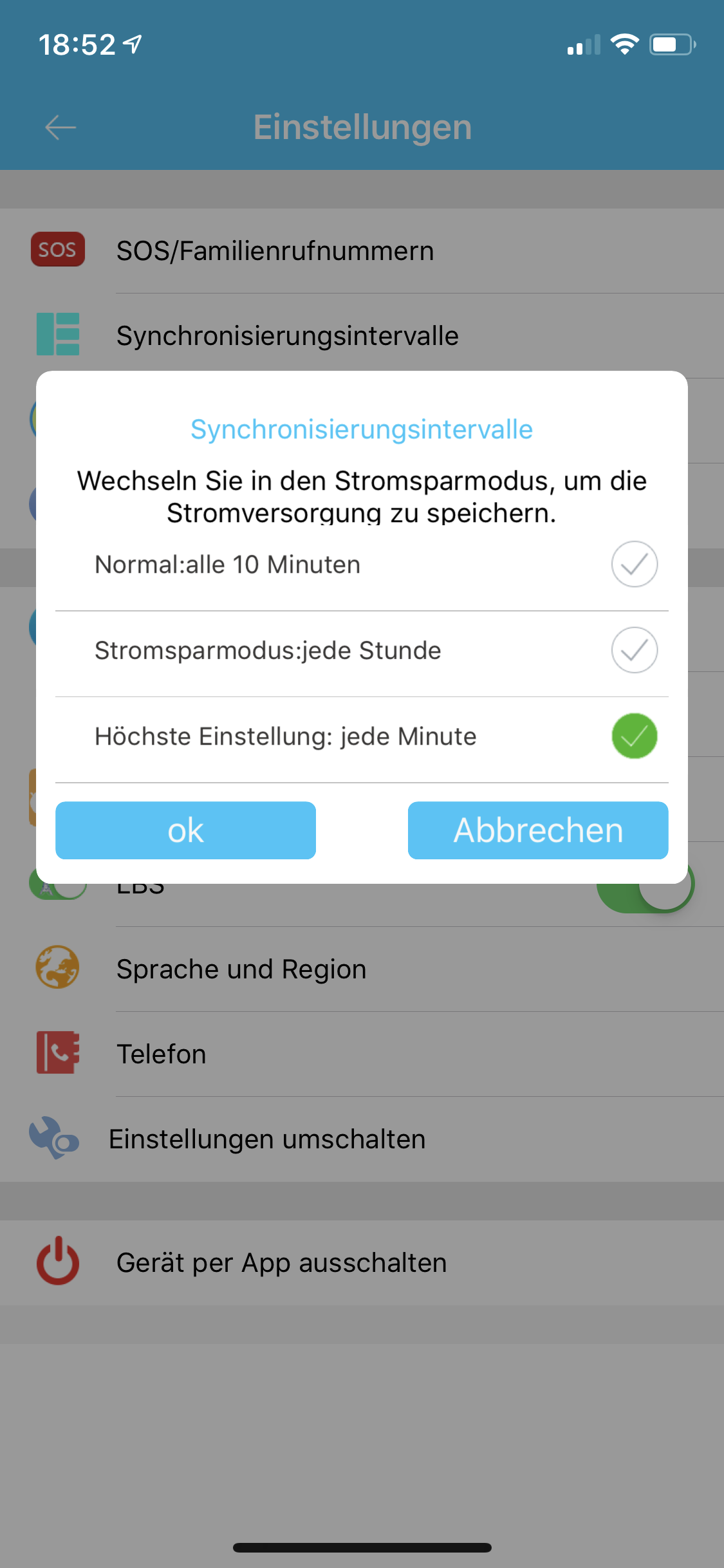 SE-Tracker-App Synchronisierungsintervalle